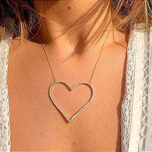 Colar Coração gran Cravejado Gold