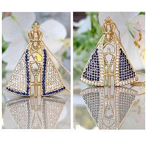 Colar Nossa Senhora Duas Cores juntas