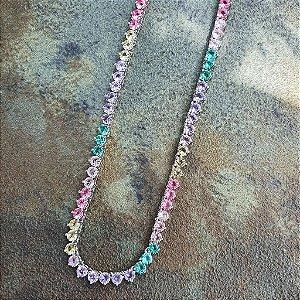Colar Riviera 45cm 3pontas Candy colors