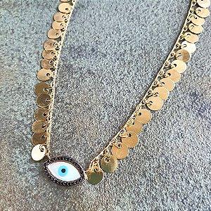 Colar Medalhas Olho Grego