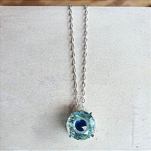 Colar olho Grego Cristal azul Balls Silver