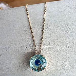 Colar olho Grego Cristal azul Balls Gold