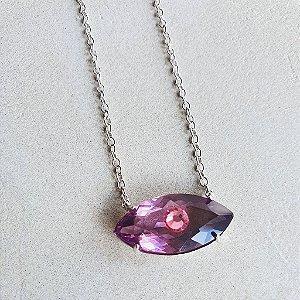 Colar Olho Grego Cristal Tanzanita X Pink Silver