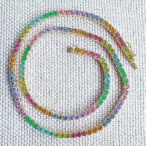 Colar Riviera 42cm Rainbow Gold 4garras