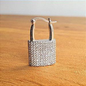 Pingente Cadeado Cravejado Silver
