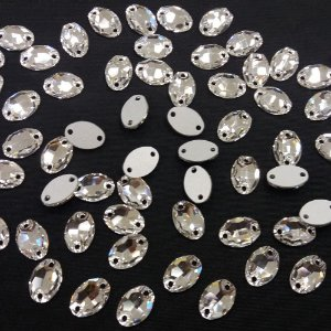 Oval 2 Furos Cristal - Preciosa