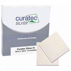Curativo Silver IV Alginato Calcio Cmc Prata Inoica 10cm x 10cm Curatec Und