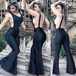 Calça max flare Glamour Preta