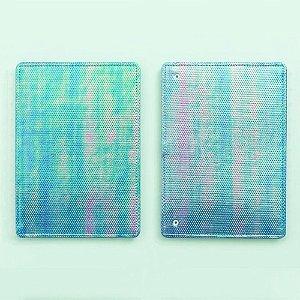 Capa E Contracapa Caderno Inteligente Azul Holográfico Médio