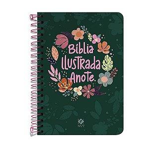 Bíblia Anote Nvt Ilustrada Espiral - Capa Cores E Flores