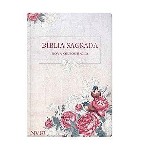 Bíblia Sagrada Nvi Gigante Nova Ort. 2 Cores - Capa Semi-Luxo Rosas E Pássaros