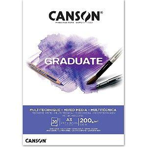 Bloco Canson Graduate Mixed Media Branco A3 200g/m² com 20 Folhas