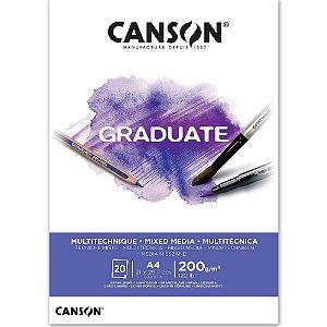 Bloco Canson Graduate Mixed Media Branco A4 200g/m² com 20 Folhas