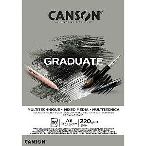 Bloco Canson Graduate Mixed Media Cinza A3 220g/m² com 30 Folhas