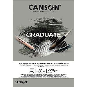 Bloco Canson Graduate Mixed Media Cinza A4 220g/m² com 30 Folhas
