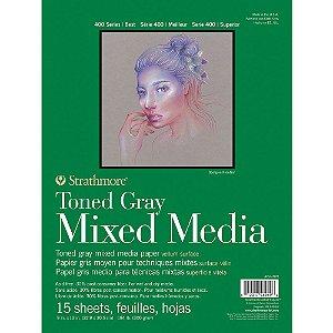Bloco Strathmore Toned Gray Mixed Media 22,9x30,5cm 300g/m² com 15 Folhas