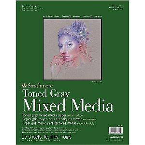 Bloco Strathmore Toned Gray Mixed Media 27,9x35,6cm 300g/m² com 15 Folhas