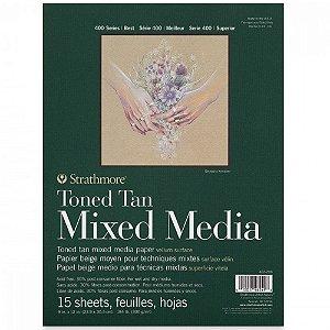 Bloco Strathmore Toned Tan Mixed Media 22,9x30,5cm 300g/m² com 15 Folhas