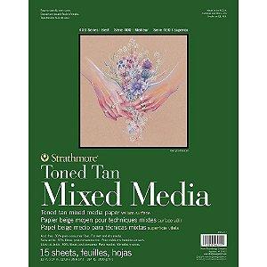 Bloco Strathmore Toned Tan Mixed Media 27,9x35,6cm 300g/m² com 15 Folhas
