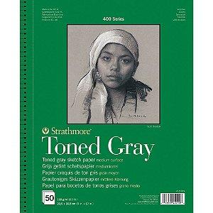 Bloco Strathmore Toned Gray Sketch 22,9x30,5cm 118g/m² 50 Folhas Espiral