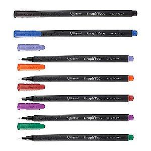 Kit Caneta Maped Fineliner Graph Peps com 7 Cores Fina 0.4mm