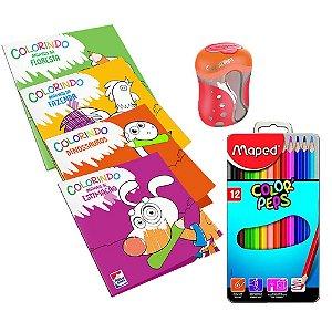 Kit 4 Livros Colorindo Animais + Lapis de Cor + Apontador