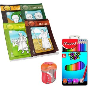 Livros Colorir Histórias Da Bíblia + Lápis Cor + Apontador