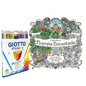 Livro de Colorir Floresta Encantada + Lápis De Cor Giotto 24 Cores