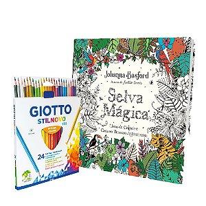Livro De Colorir Selva Mágica + Lápis De Cor Giotto 24 Cores