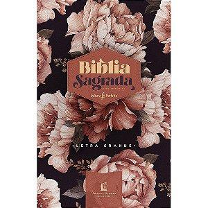 Bíblia Peônias Rosadas Acf Letra Grande