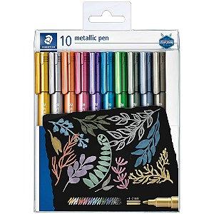 Caneta Marcador Staedtler Metalic Pen Estojo Com 10 Cores