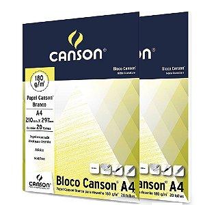 Kit Com 2 Bloco Papel Canson Desenho Branco A4 180g 20fls