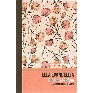 Bíblia Ella Evangeliza RC - Semi Luxo Rosé Floral