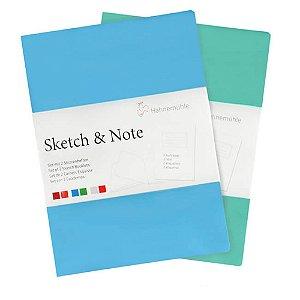 Caderneta Sketch & Note 125g A5 C/ 20fls (Azul E Verde)