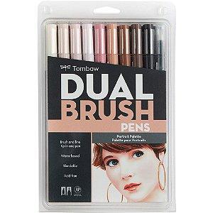 Estojo Caneta Pincel Dual Brush c/10 Tons de Pele