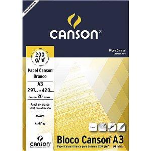 Bloco Papel Canson Desenho Branco A3 20fls 200g