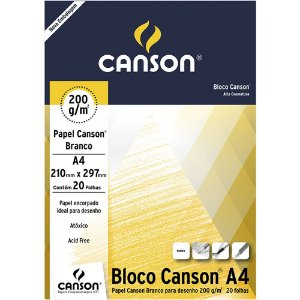 Bloco Papel Canson Desenho Branco A4 20fls 200g
