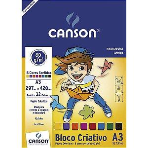 Bloco Papel Colorido Infantil 8 Cores A3 32fls 80g