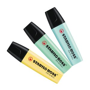 Kit Marca Texto Stabilo Boss Pastel (Azul/Verde/Amarelo)