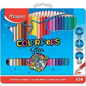 Lápis De Cor Color Peps c/24 Cores Estojo Metal Maped