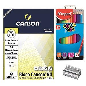Kit - Desenho 12 Cores (Bloco De Papel/Apontador/Lápis 12 Cores)