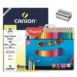 Kit - Desenho 24 Cores (Bloco De Papel/Apontador/Lápis 24 Cores)