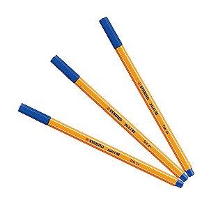 Kit Caneta Stabilo Point 88/41 Azul (3 Unidades)