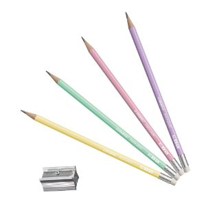Kit Lápis Grafite Swano Pastel HB com Borracha (4 Lápis + Apontador)