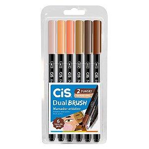 Estojo Caneta Pincel Cis Dual Brush C/6 Tons De Pele Aquarelável