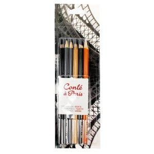 Kit Lapis Crayon C/6 Cores Conté À Paris 50105