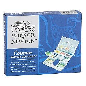 Aquarela Em Pastilha Winsor & Newton Cotman Compact Set C/16 Peças 0390083