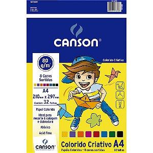 Papel Canson A4 Colorido Criativo Infantil 8 Cores 80g 32 Folhas