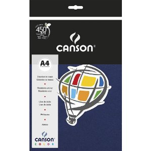 Papel Colorido A4 Canson Color Azul Marinho 180g 10 Folhas