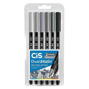 Marcador Dual Brush Estojo C/6 Tons Cinza